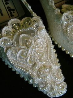 """Handmade vintage wedding shoes - decorated with lace - princess style shoe (check out other wedding accessories at """"theweddingpicker"""" Etsy shop! Celtic Wedding, Irish Wedding, Bridal Shoes, Wedding Shoes, Wedding Sneakers, Cinderella Slipper, Cinderella Shoes, Pearl And Lace, Shoes Heels Pumps"""