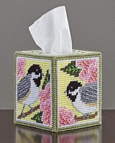 Mary Maxim Chickadee and Apple Blossom Plastic Canvas Tissue Box Cover Kit Plastic Canvas Box Patterns, Plastic Canvas Stitches, Plastic Canvas Coasters, Plastic Canvas Ornaments, Plastic Canvas Tissue Boxes, Plastic Canvas Crafts, Crochet Applique Patterns Free, Yarn Storage, Tissue Box Covers