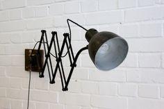 Wall+Mounted+German+Industrial+Scissor+Lamp+Circa+1930 Vintage Industrial Lighting, Wall Mount, Lamps, Wall Lights, German, Home Decor, Lightbulbs, Deutsch, Appliques