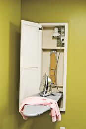 Laundry room ironing board. love the idea of having it all there and ready to go. i feel like i would iron more?