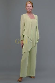Pant Suits For Wedding Guests Green Chiffon Mother Of The Bride