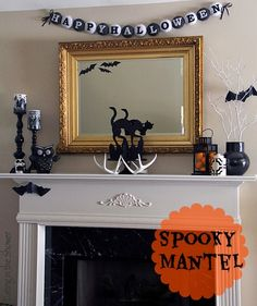 Eating in the Shower: Spooky Black and White Halloween Mantel