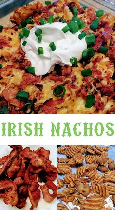 ADD HAMBURGER This amazingly simple recipe for Irish Nachos is a cinch to cook at home anytime and is super tasty! Made with bacon, green onions, and sour cream, this recipe will knock your socks off! I Love Food, Good Food, Yummy Food, Tasty, Appetizer Recipes, Snack Recipes, Cooking Recipes, Appetizers, Appetizer Ideas