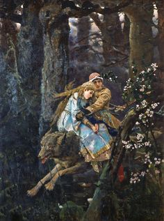 Ivan and The Wolf - Viktor Vasnetsov [a prince and princess riding on a wolf through the forest]