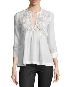 3/4-Sleeve Silk & Lace Top, Snow