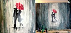 how to paint a rainy day scene with acrylics easy wall art paint a rainy day Beginner Painting, Diy Painting, Painting & Drawing, Couple Painting, Simple Acrylic Paintings, Acrylic Art, Easy Paintings, Painting Pictures, Canvas Paintings