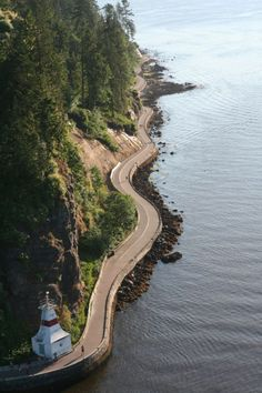 Stanley Park Seawall, photo taken from Lions Gate Bridge, Vancouver