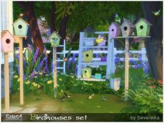 Spring set for garden decoration - bird houses and small birds.  Found in TSR Category 'Sims 4 Garden Sets'