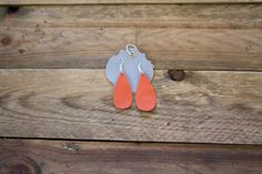 Coral Leather Tear Drop Earrings by laborofleather on Etsy
