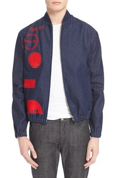 J.W.ANDERSON Print Denim Bomber Jacket available at #Nordstrom
