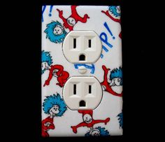 dr suess thing one and thing two bedroom decor | Dr. Seuss Duplex Electrical Outlet Cover Thing 1 and Thing 2 Children ...
