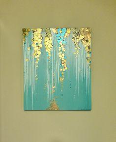 Original moderne abstrakte Malerei auf Leinwand metallisch