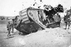 Destroyed British tank WW1.