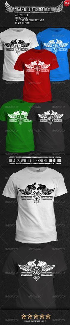 Crash Bull #T-Shirt - T-Shirts Download here: https://graphicriver.net/item/crash-bull-tshirt/7764098?ref=alena994