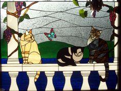 Cat portrait Window by stainedglassshop