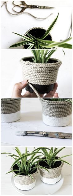 DIY plastic pot upcycling with sisal and paint || DIY Plastiktopf-Upcycling mit Sisal