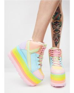 (Pre)Skoolin' U Platform Qozmo Sneakers cuz you're gonna teach 'em a lesson. These rainbow sneakers have thikk platform soles and lace-up front closures. Kawaii Shoes, Kawaii Clothes, Platform Boots, Platform Sneakers, Harajuku Fashion, Kawaii Fashion, Cute Shoes, Me Too Shoes, Trendy Shoes