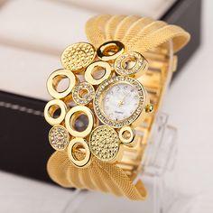 1PC Luxury fashion bracelet watch for women Popular hot diamante mesh watchband ladies fashion quartz watches dress wristwatch
