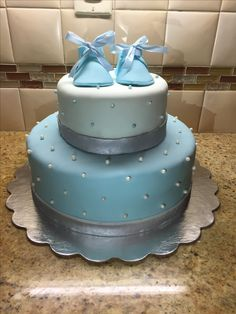 Baby Boy Cake Shoes Polka Dots Bris Blue And Silver Shower Teal Birthday Two Tiers