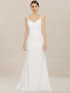 Casual beach wedding dress features Lace shoulder straps and figure-flattering asymmetrical ruching throughout the bodice and hips.
