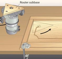 A routed groove adds interest to flat-panel doors, but finding a way to radius the corners was a mystery to me. This router subbase changes that. First, build a router subbase from 1 - My Saws And Jigs Woodworking Lamp, Woodworking For Kids, Woodworking Projects That Sell, Woodworking Techniques, Intarsia Woodworking, Popular Woodworking, Woodworking Hacks, Woodworking Jigsaw, Woodworking Quotes