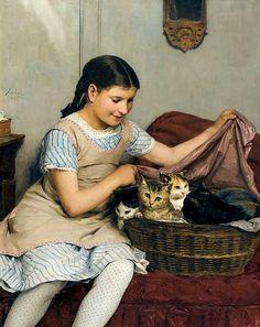 Albert Anker - Girl with Kittens