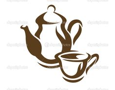 Coffee Bar Home, Stencil Printing, Teapots And Cups, Doodle Sketch, Stencil Designs, Kakao, Clipart, Illusions, Tea Pots