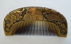 Antique Kanzashi Hair comb, Hand Carved Peony