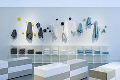 Coatrack Dots visual merchandising display from DWR Bath Accessories