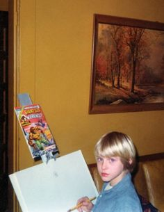 A portrait of the young man as an artist. For his eighth birthday in February 1975, Kurt received this easel from his paternal grandparents. Comic book characters were his favorite art subjects in childhood; he began with Disney-related fare, such as Donald Duck, but quickly moved to superheroes. Here, Kurt is copying the cover from Giant-Size Werewolf #4, an April 1975 Marvel comic.