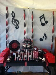 Oldies Music theme Dessert Table. Facebook.com/DessertExtravaganza