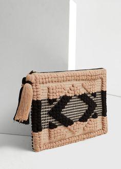 Textured cotton clutch - Women | MANGO USA