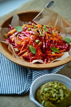 make with different dressing: try something different with the carrot and beet slaw dressed with fresh pistachio butter.