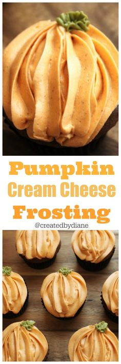 Pumpkin and chocolate come together for these easy and delicious cupcakes with pumpkin cream cheese frosting. Pumpkin and chocolate come together for these easy and delicious cupcakes with pumpkin cream cheese frosting. Frosting Recipes, Cupcake Recipes, Baking Recipes, Cupcake Cakes, Buttercream Frosting, Frosting Tips, White Frosting, Cream Cheese Buttercream, Frosting Techniques