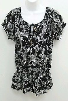 Croft & Barrow Stretch Sz Medium Black White Paisley Peasant Top Blouse B273