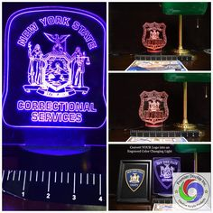 New York State Police Gift Light - Color Changing Desk Light - Select Design or request your own. Premier Display Inc. Customize with your own badge number and patch/logo.