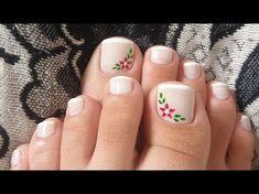 UNHAS DECORADAS EM ROSA PARA OS PÉS - YouTube Pretty Pedicures, Pretty Nails, Classy Nails, Stylish Nails, Pedicure Colors, Nail Colors, Toe Nail Art, Acrylic Nails, Summer Toe Nails