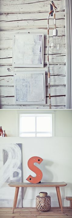 Love how she tacked her art on a simple painted board. Great framing idea! And love the bare bulb light fixture she put together. And that S is awesome. Okay fine, it's all amazing.