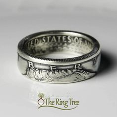 Kennedy half dollar #CoinRing by #TheRingTree. Handcrafted from a #silver #Kennedy half dollar coin. #jewelry, #ring,