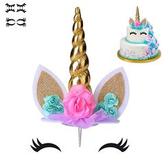COONOE, Unicorn Cake Topper,Handmade Party Cake Decoration Supplies with multiple Eyelashes,Reuasble Gold Horn for Birthday Party,Baby Shower&Wedding Unicorn Cake Decorations, Unicorn Cupcakes Toppers, Unicorn Cake Topper, Cake Toppers, Unicorn Birthday, Unicorn Party, 3rd Birthday, Little Pony Cake, Gold Cake Topper