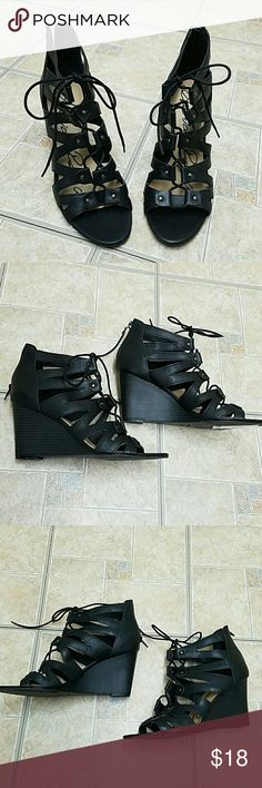 NWT  $59 American Rag black Lace up wedges In good condition never worn don't have original box American Rag Shoes Wedges
