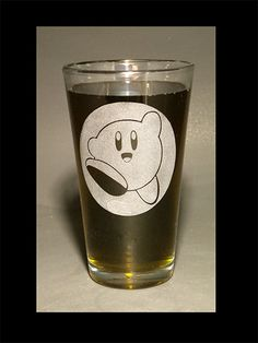 Etched Nintendo Kirby Pint Glass