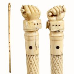 Nautical Folk Art-C. very nicely carved han : Lot 269 Wooden Walking Sticks, Walking Sticks And Canes, Walking Canes, Cannes, Bone Crafts, Cane Handles, Antique Bottles, Bone Carving, Skull And Bones