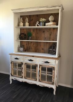 Farmhouse hutch makeover. Adding barn wood to existing hutch. Totally transformed!