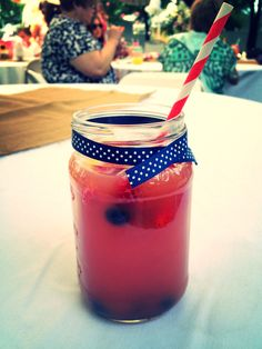 Mamosa, cranberry pomegranate juice, and fruit in a jar; drinks at my friend's bridal shower.