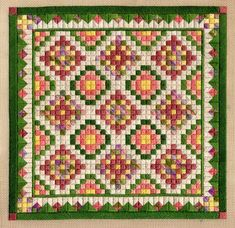 Canvas Embroidery - Laura J Perin - American Quilt Collection Bargello Needlepoint, Needlepoint Canvases, Needlepoint Stitches, Canvas Designs, Canvas Patterns, Blackwork Patterns, American Quilt, Green Quilt, Tapestry Fabric