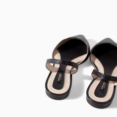 SLING BACK LEATHER SANDALS from Zara | Upper: 100% COW LEATHER | Lining: 100% POLYURETHANE | Sole: 100% VULCANIZED RUBBER | 49.50 JOD