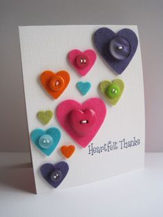 """""""heartfelt"""" thanks card--pinning because I love the clever use of the felt and the heart dies Step Card, Thanks Card, Button Cards, Valentine Day Cards, Paper Cards, Creative Cards, Cute Cards, Scrapbook Cards, Homemade Cards"""
