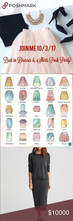 Best In Dresses & Skirts Party 10/3/17 Yay! Hosting my 3rd party, love this theme.  Share to my dressing room your best dress and skirt, no more than 3 for host pick consideration.  Can't wait to pick my picks! Dresses High Low