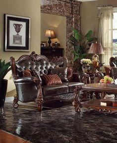 Acme Furniture - Versailles Loveseat with 5 Pillows, Dark Brown PU & Cherry Oak - Formal Living Rooms, Living Room Sets, Living Room Chairs, Living Room Interior, Living Room Furniture, Living Room Decor, Acme Furniture, Furniture Design, Vintage Furniture
